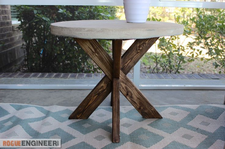 Ana White   Build a Concrete X Side Table Featuring Rogue Engineer   Free and Easy DIY Project and Furniture Plans