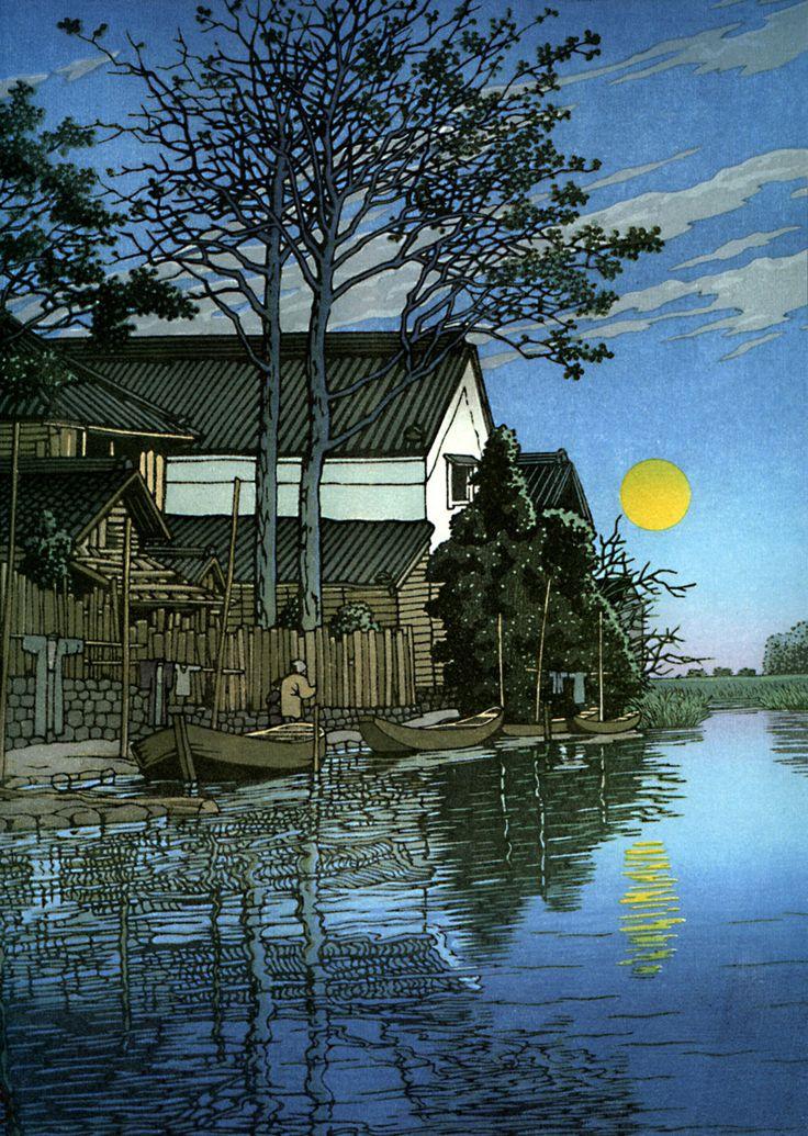 Evening at Itako, by Hasui Kawase, 1930