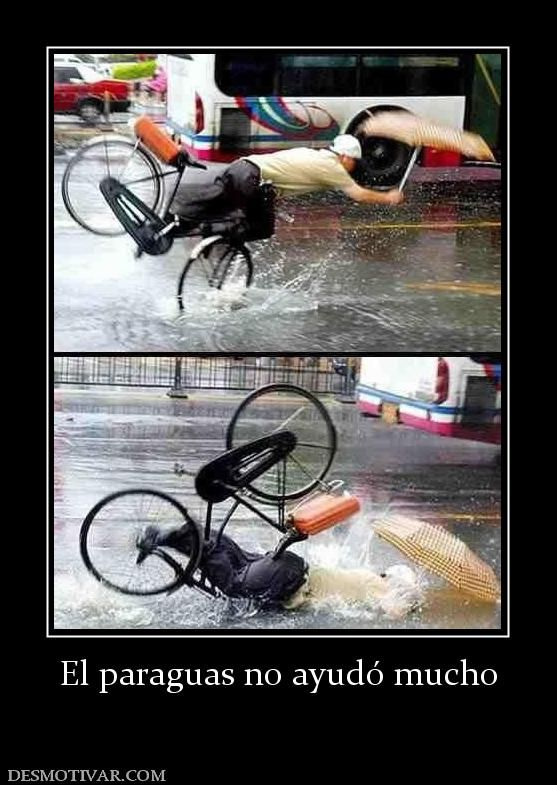 anda en bicicleta, está lloviendo, hay un charco, se cae de cara, se moja