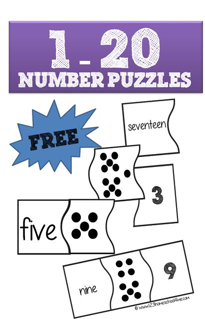 Kids will have fun practicing counting numbers one to twenty and using number words with these fun, FREE printable number puzzles for Preschool, Kindergarte
