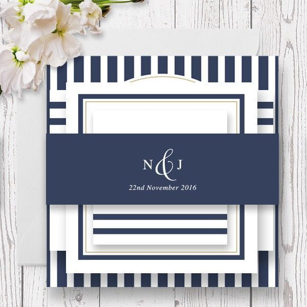 navy striped nautical wedding invitations printed on luxe double
