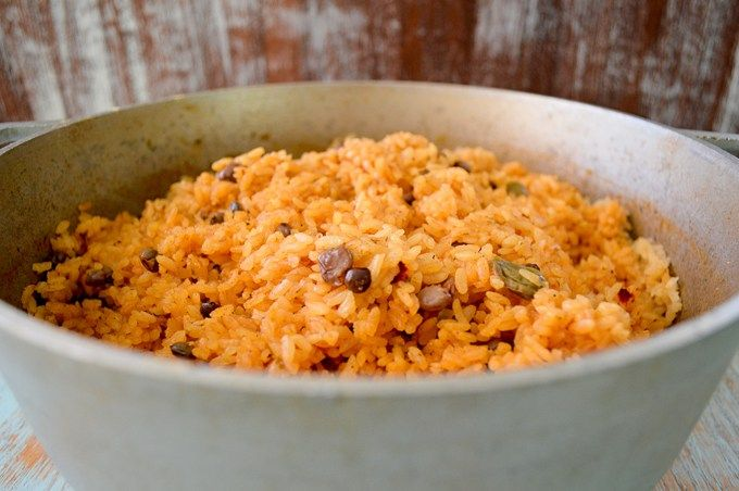 Puerto Rican Rice - Arroz con Gandules (Rice with Pigeon Peas). The best rice you will ever have! | Kitchen Gidget