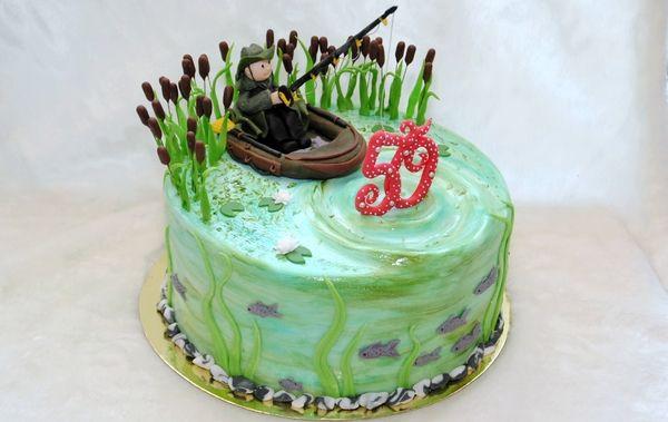 Торт для рыбака, на юбилей.
