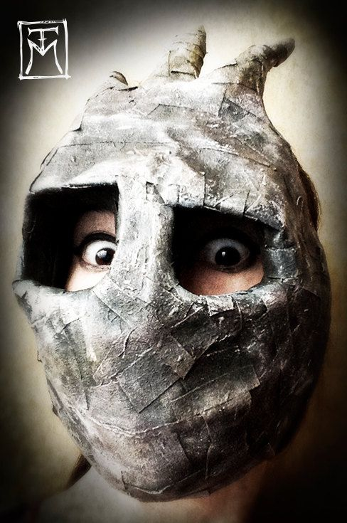 Surreal Horned Paper Mache Nightmare Mask by TalissaMehringer