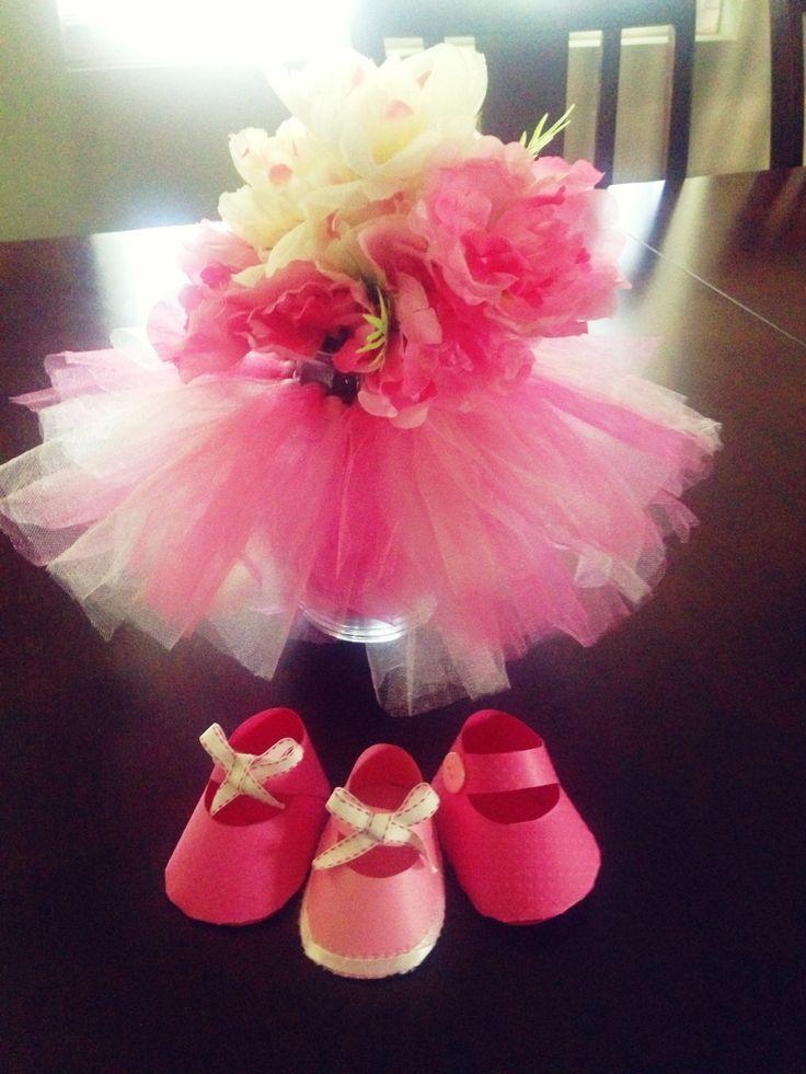 tutu vase centerpiece for a baby shower elle 39 s baby shower