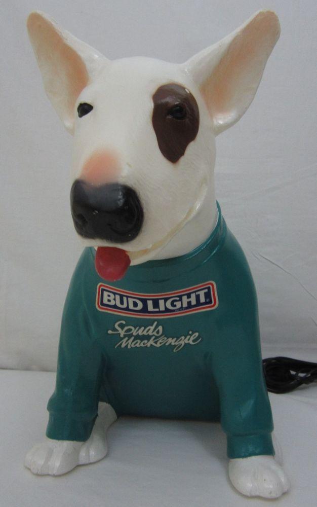 1986 Spuds Mackenzie Bud Light Dog Light Lamp Advertising WORKS ...