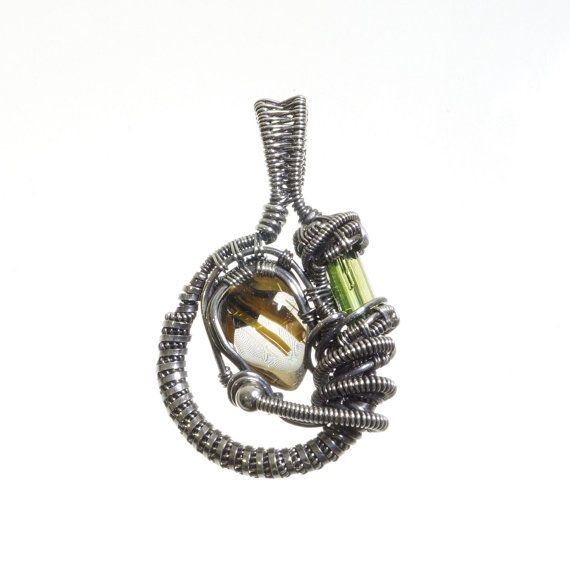 Rutilated Quartz feat Tourmaline Sterling silver by AstroArtDesign