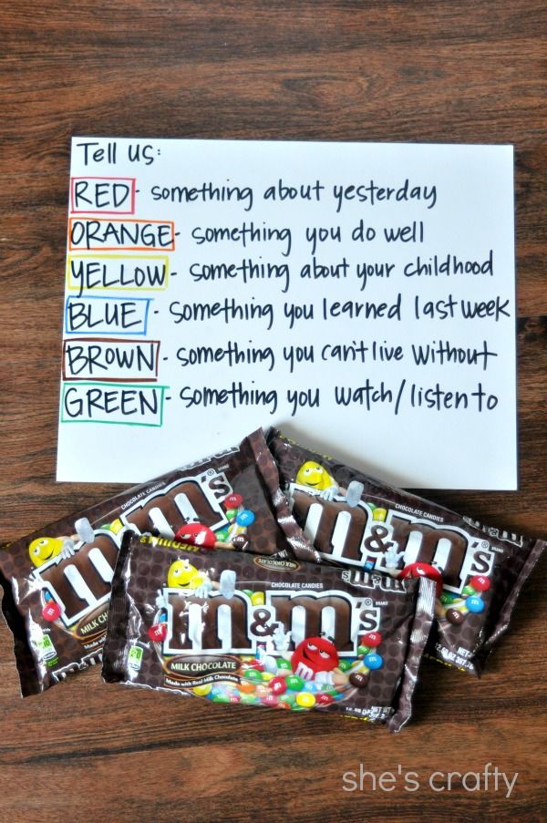Why not break out the M&Ms for a special back-to-school icebreaker treat? Aww