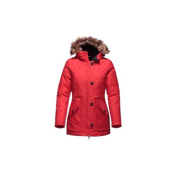The North Face Women's Mauna Kea Parka (£245) ❤ liked on Polyvore featuring outerwear, coats, high risk red, red coat, the north face parka, insulated coat, red parka coat and red parka
