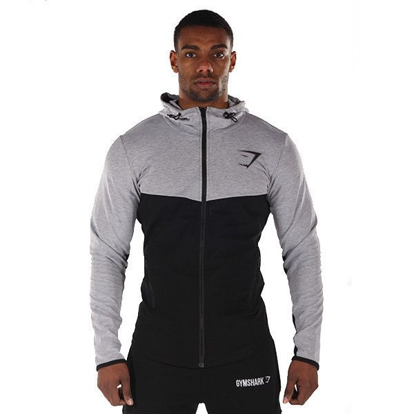 GymSharkFit Hooded Top - Grey/Black Men's featured clothing | GymShark International | Innovation In Fitness Wear