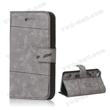 World Map For iPhone 4 4S Flip Leather Wallet Case Cover - Grey  — 2.15 руб. —  iPhone 4S wallet case, made of pu leather material, world map design, wallet style, inner rubberized plastic frame, easy to install and remove, well protective, precisely appropriates for iPhone 4 4S.