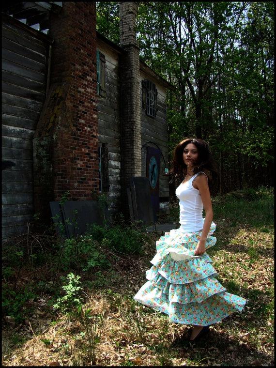 long ruffled Dia de Los Muertos turquoise skirt by Lola Santana - on ETSY!