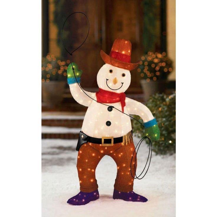 Amazon.com : 48 in Tinsel Cowboy Snowman : Patio, Lawn ... on Backyard Decorations Amazon id=98555