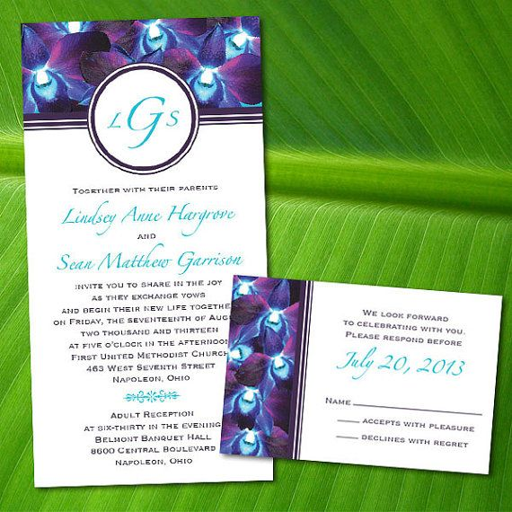 Attractive Custom Blue Orchid Wedding Invitations By PuttinOnTheGlitz4U, $3.95