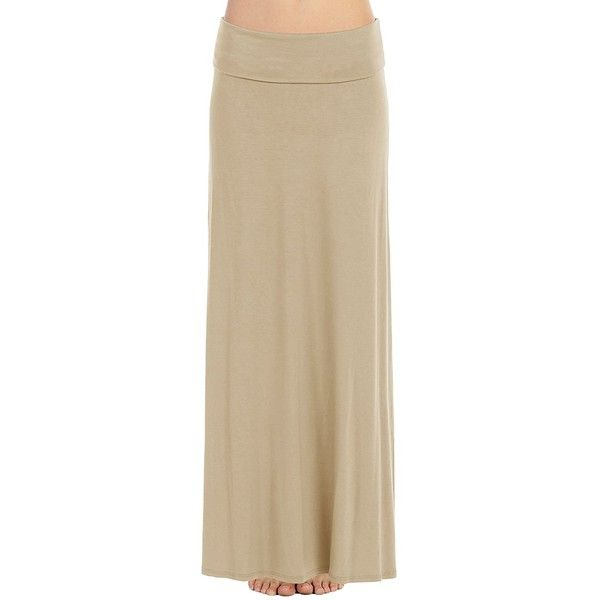 FACA Womens Fold Over Waist Long Maxi Skirt (Medium, Taupe) at Amazon... (135 SEK) ❤ liked on Polyvore featuring skirts, long fold over maxi skirt, foldover maxi skirts, long maxi skirts, taupe skirt and brown maxi skirt