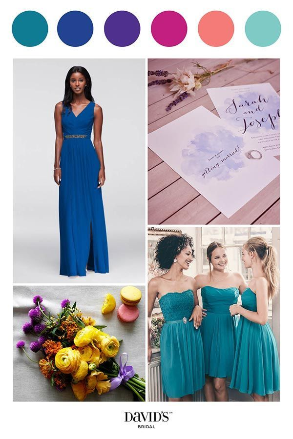 Bold and bright colors add vibrancy to your wedding day. Find a rainbow of options and create the palette of your dreams at davidsbridal.com.