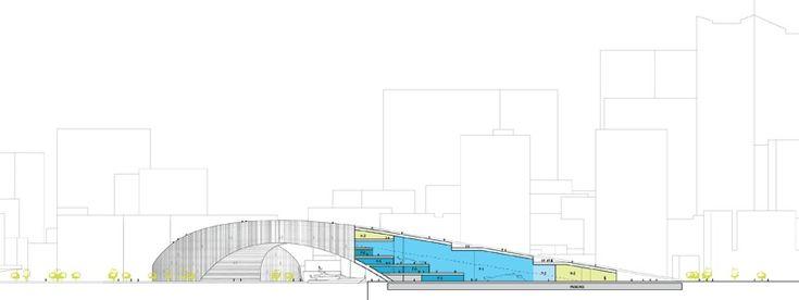Moon Bridge / JAJA Architects.,Partial Section © JAJA Architects.