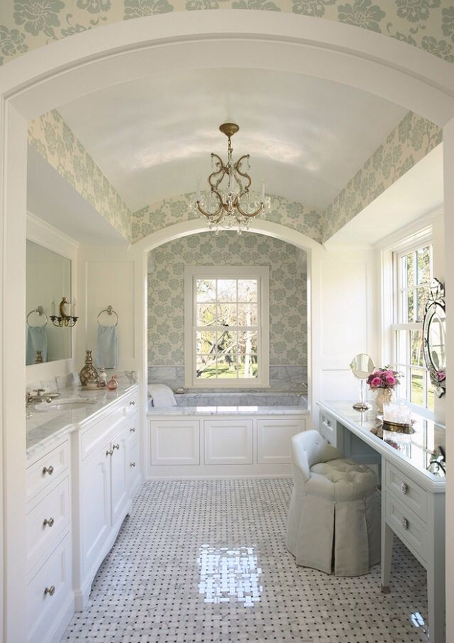 Love This Wallpaper, The Basket Weave Floor Tile, The Color Palette, Barrel  Ceiling   Just A Dream Bathroom.