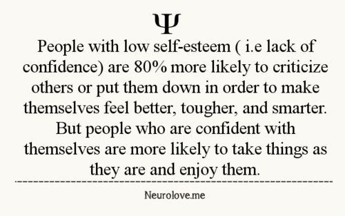 This is good to know, I must have a healthy self esteem because I refuse to tear others down. Thats not my style.