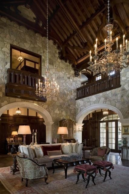 breathtaking living room in Tudor Style