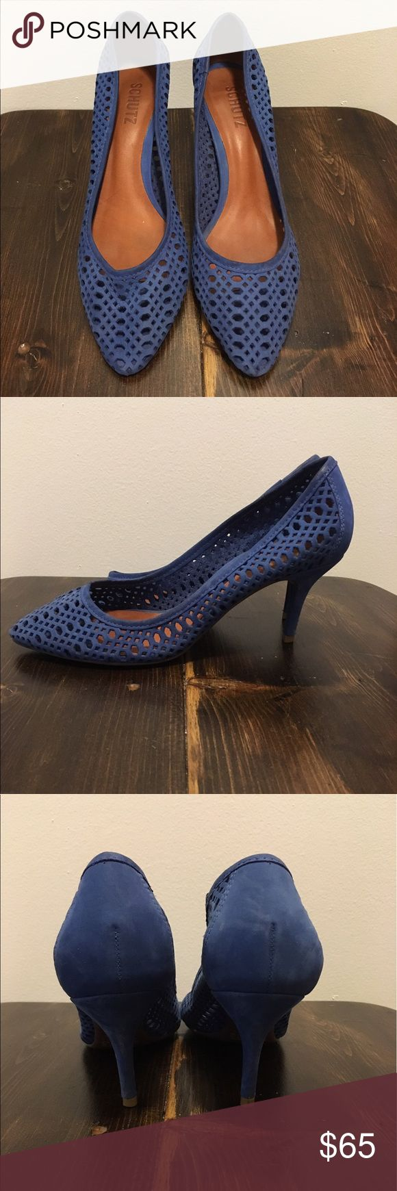 Brazilian blue suede leather pumps heels These heels are what you need to give your outfit that pop of color! Flattering 2 inch heel and pointy toe elongates your legs. Worn only twice! SCHUTZ Shoes Heels