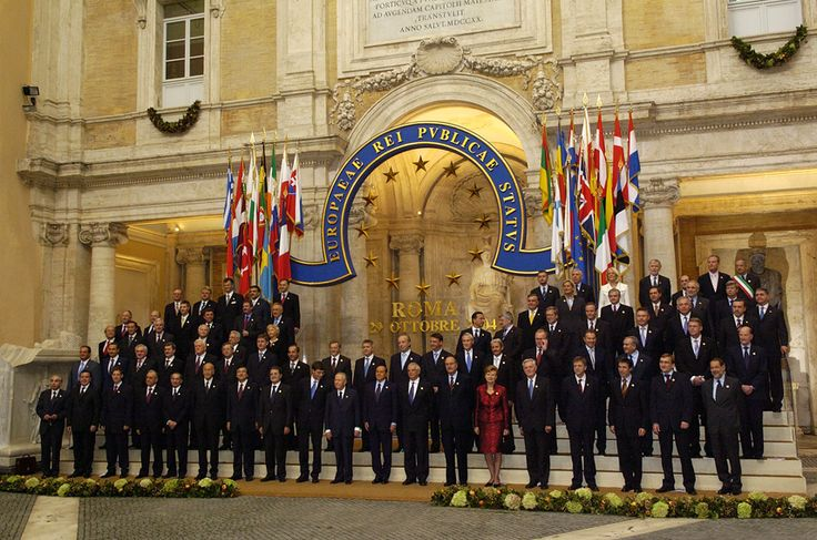 """""""Europaeae Rei Publicae Status"""" Signing of the EU Constitutional Treaty in Rome, October 29, 2004.  Thanks to @NGrotum for this one!!  Europaeae from the adjective Europaeus -a -um. I would have guessed this was non-classical Latin, but Cornelius Nepos, Q. Curtius Rufus and Ovid use it.  Link to the original tweet: https://twitter.com/NGrotum/status/281524899099586562"""