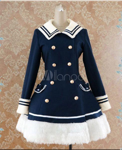 Navy Blue Waist-controlled Sailor Style Lolita Coat