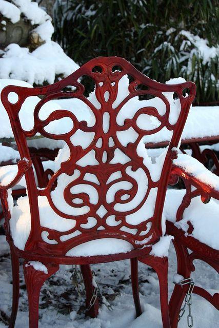 Red Chair...Waiting For Spring.: Filigr Chairs, Summer Picnic, Picnics Preparation, Company Picnics, Patio Chairs, Red Chairs, Irons Chairs, Filigr Preparation, Picnics Galleries
