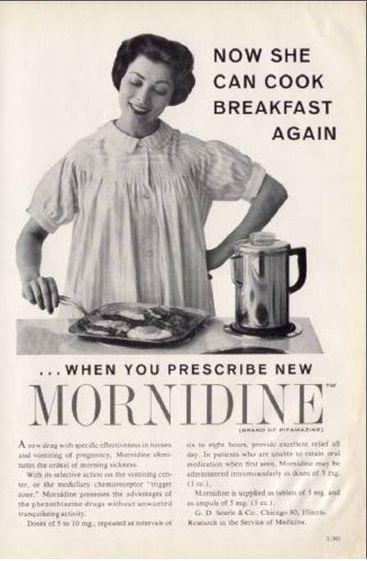 """""""Tua moglie ha la nausea mattutina? Dalle Mornidina... Ora può tornare a preparare la colazione"""""""
