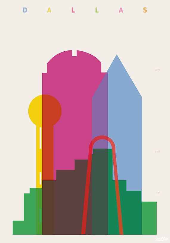 Shapes of Dallas art print by DesignedbyYoni on Etsy