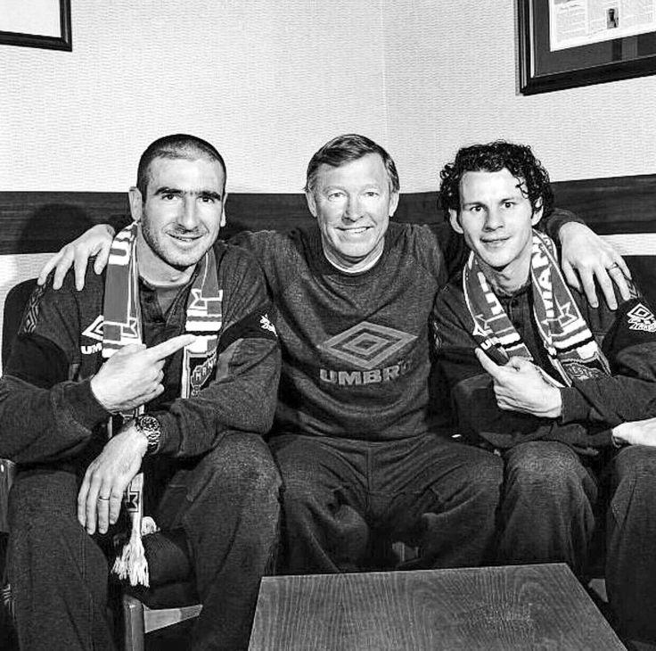 Eric Cantona, Alex Ferguson & Ryan Giggs in 1996