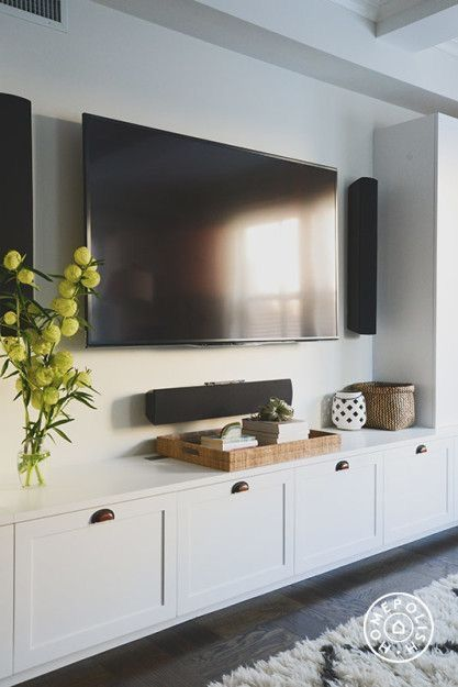 White Built In With Shaker Style Cabinets Under The Wall Mounted Tv This Room Has Some Serious Surround Sound Decorate A Media Console