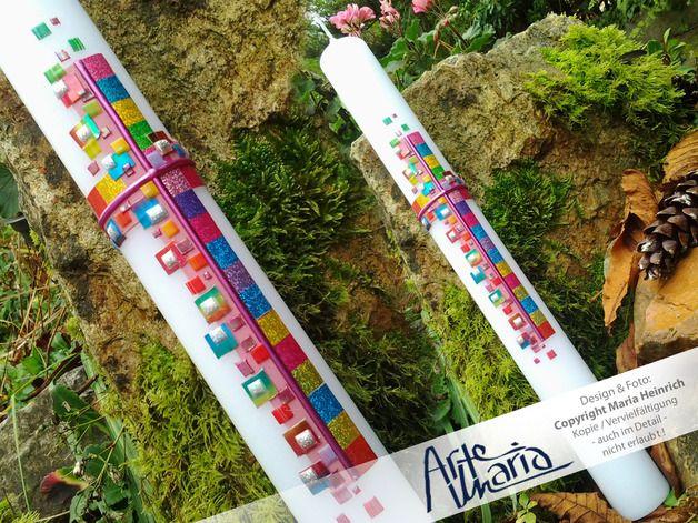 """Kommunionkerzen - 40x5 cm Kommunionkerze / Mosaik """"Glitter-Q... - ein Designerstück von arte-maria bei DaWanda"""
