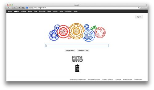 Doctor Who's Google Homepage  Saturday 23rd November 2013  this makes me happy!
