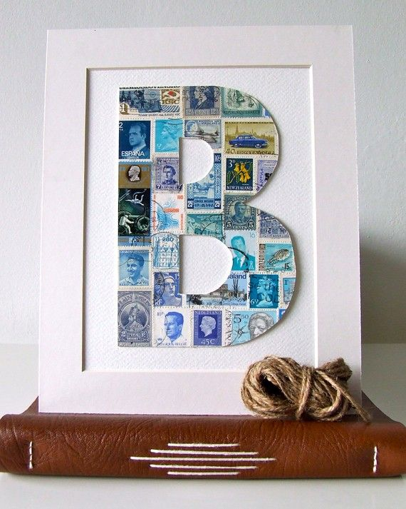 Postage Stamp Letter Art. This would be awesome with black and white pics of the family.