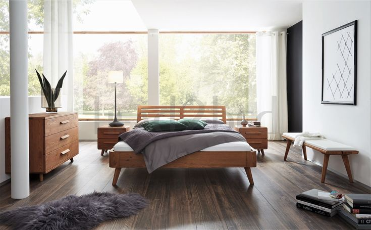 Contemporary Designer Beds » Hasena Masito Soleo Solid Oak Modern Bed - Head2Bed UK
