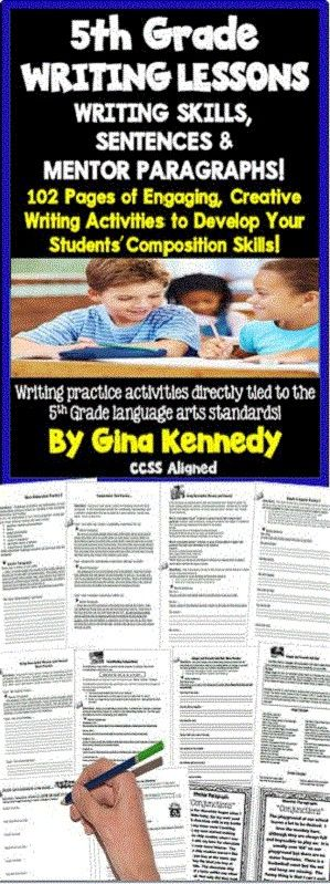 5th Grade writing lessons for the entire year! Lessons, guided practice, independent practice, mentor sentences, mentor paragraphs, writing prompts and much more! With this resource you will find a multitude of writing activities that will help your students create interesting and informative compositions. From transitions, similes and metaphors, clauses and even coordinating conjunctions, this is a must have for 5th grade language arts teachers. $