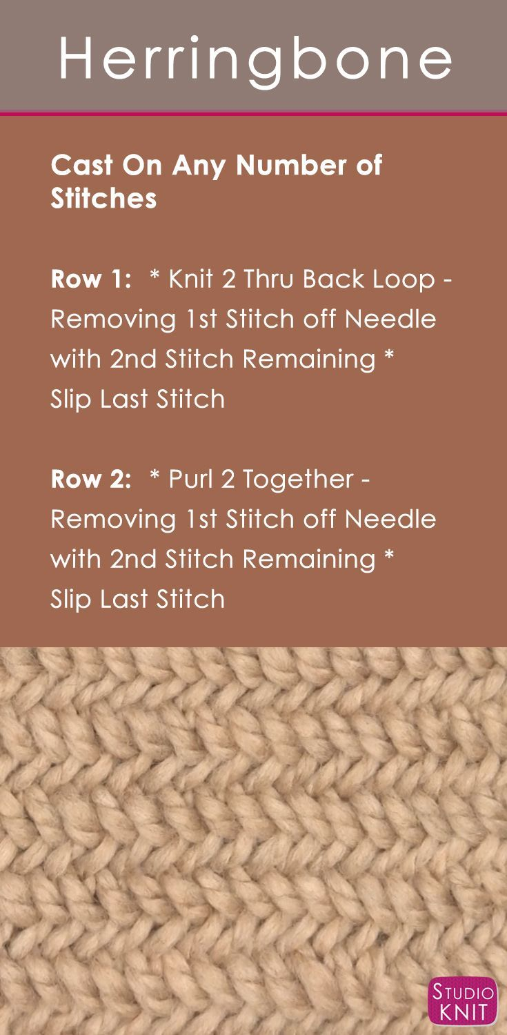 How to Knit the Herringbone Stitch with Easy, Free Knitting Pattern + Video Tutorial by Studio Knit via @StudioKnit