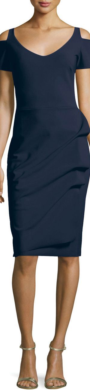 La Petite Robe di Chiara Boni Julia Cold-Shoulder Ruched Cocktail Sheath Dress