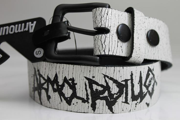 MENS BELT $19  ARMOURDILLO  'Crushed Leather White'    ebats11.com