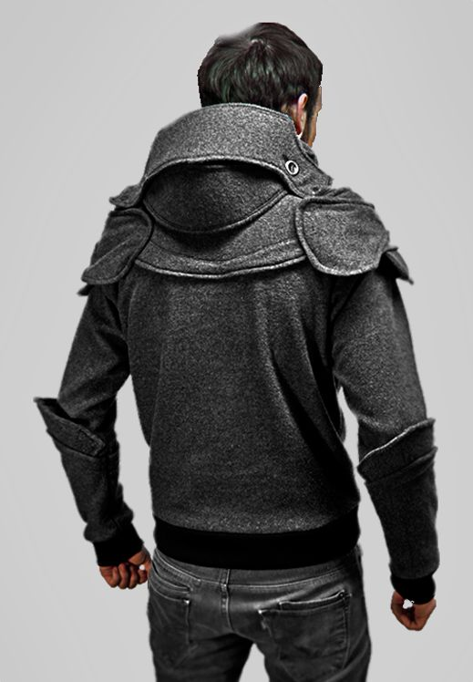 Inspiration for Knight Hoodies, replace sweater pads with leather, deaccenuate bracers, base off of leather jacket