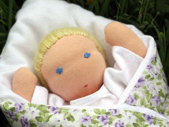 Newborn baby doll  waldorf  wool stuffed by ElodeaToys on Etsy