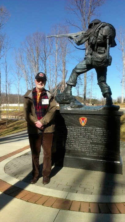Dr. Craig Leman was a young Marine who dragged his belly across the black sand beach at Iwo Jima 68 years ago. He was a member of 26th Marine Regiment and one of eight survivors in his platoon.  He's pictured her in front of the 5th Marine Division monument in Semper Fidelis Memorial Park at the National Museum of the Marine Corps.  Several Iwo survivors are here today to celebrate their anniversary.   Uncommon Valor was a common virtue.   Semper Fidelis  #USMC #USMCmuseum #Marines #WWII…