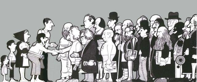 """João Abel Manta, Título: """"Encantados de conocer a sus excelencias"""" (""""Muito prazer em conhecer vocelências""""). M.F.A. Campanha de dinamização cultural, 1974. Una delegación extranjera amiga es recibida por una familia humilde que representa a Portugal. Entre los amigos que acuden a Portugal están: Picasso, Einstein, Socrates, Beethoven, Spinoza, Shakespeare, Charlie Chaplin, Louis Armstrong, Karl Marx y Sigmund Freud, entre otros. Por el contrario, lo poderosos del mundo posponen la cita de…"""
