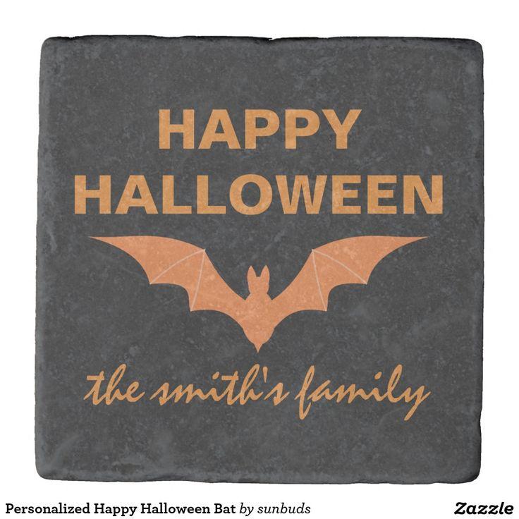 Personalized Happy Halloween Bat Stone Coaster