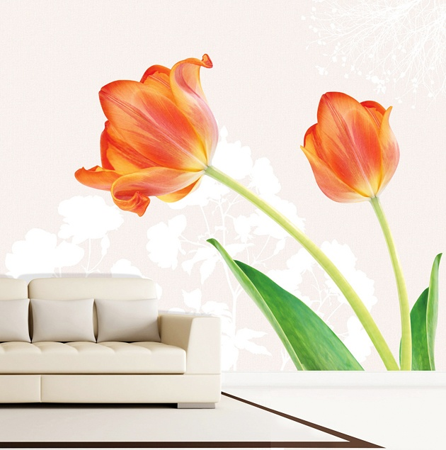 Fabulous Fototapete Wandbild selbstklebend Tulpen XXL Die drei verschiedenen Motiv Teile k nnen zu einem kompletten Wandbild