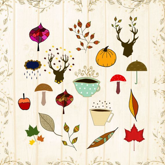 cosy fall clipart digital sheet autumn by CinnamonCoffeeStudio