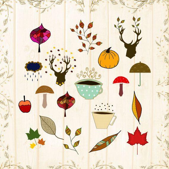 cosy fall clipart digital sheet autumn by CinnamonCoffeeStudio