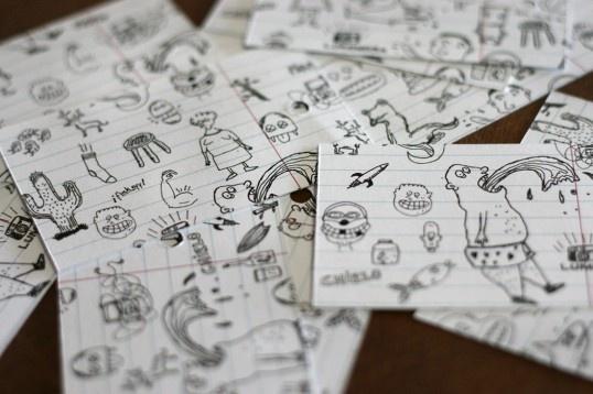 Doodled namecards for Matias Fiori.