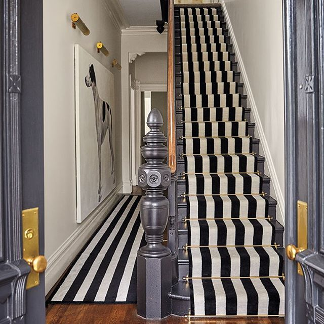 Designer Jennifer Vaughn Miller reinvents the interiors of a Victorian-style townhouse in Pacific Heights @vaughnmillerstudio   Photography @briewilliams  A Must See project in #MILIEUWinter2017  #PacificHeights #SanFrancisco Sources Tagged!  #StaircaseRunner #Stripes #art #Paint #jennifervaughnmiller